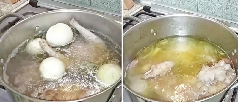 холодец из свиных ножек и курицы