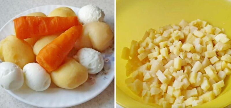 оливье с колбасой и яблоком