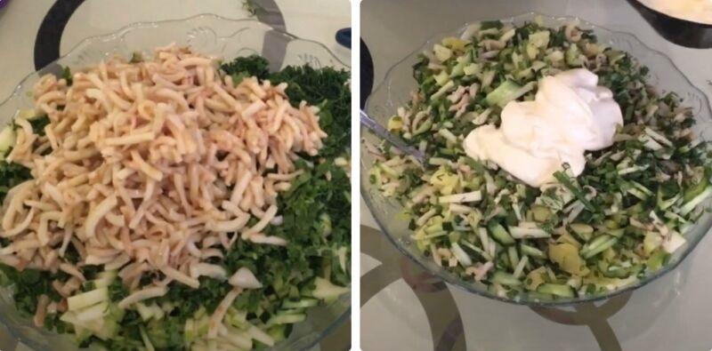 салат со свежим огурцом и кальмарами