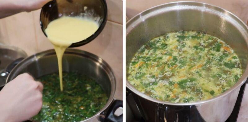 зеленый борщ с щавлем и шпинатом