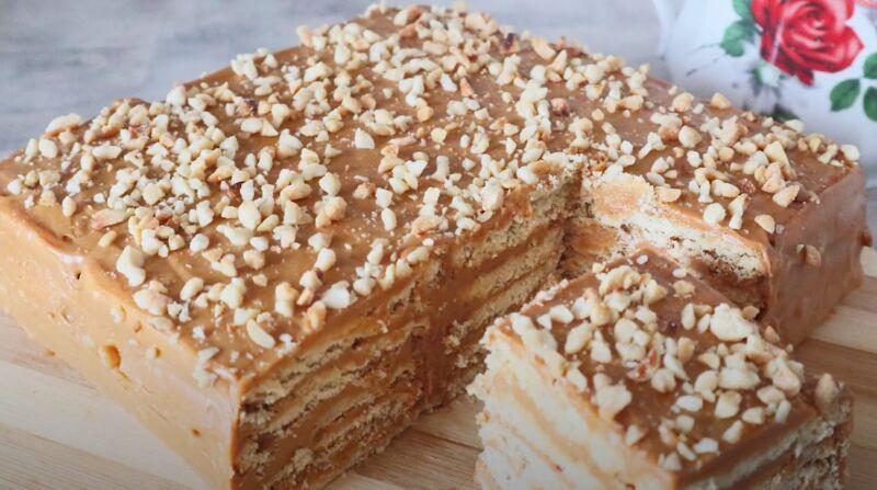 торт из печенья со сгущенкой и маслом