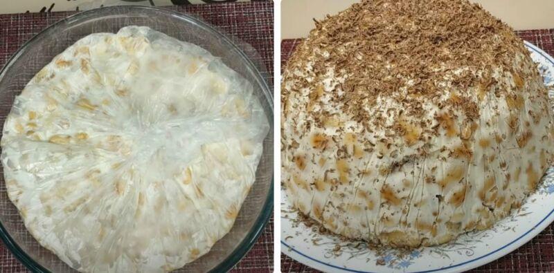 торт из печенья с бананом