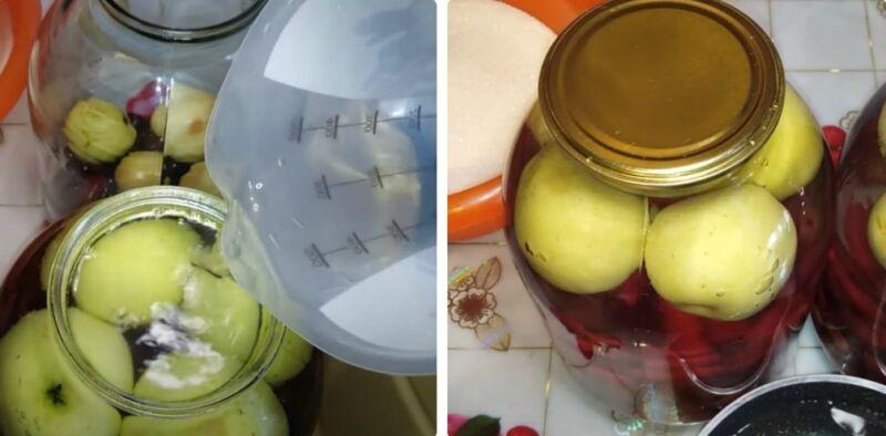 вишневый компот с яблоками